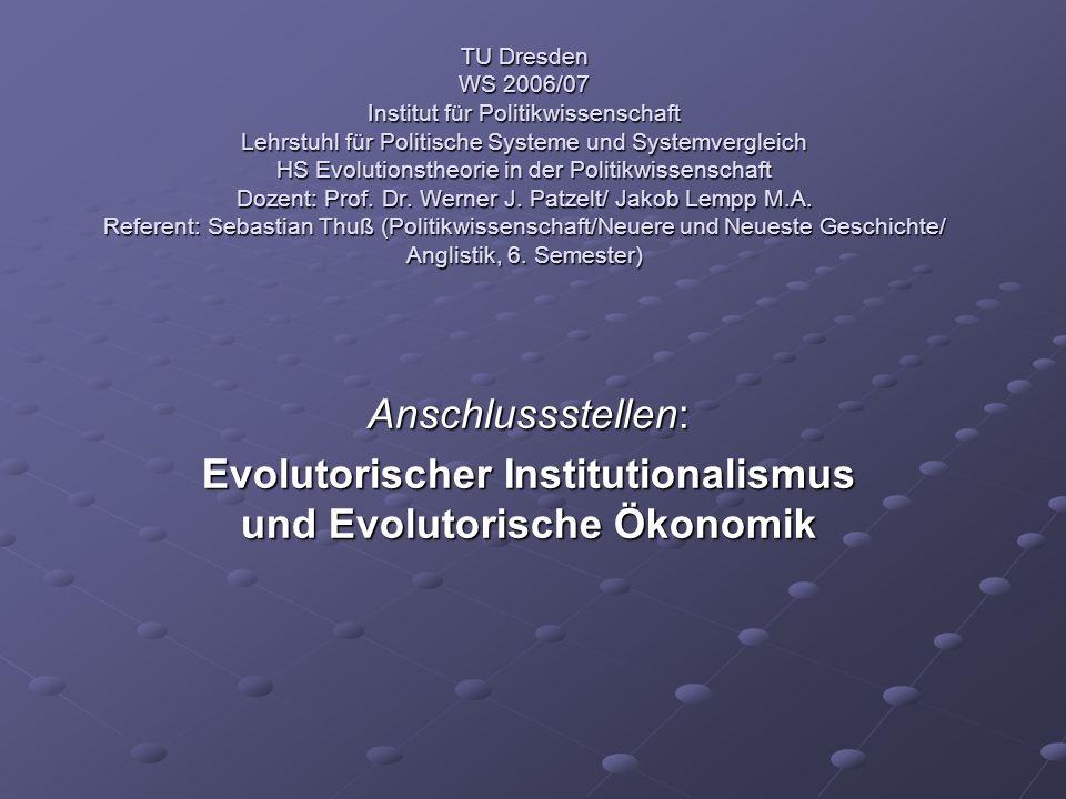 TU Dresden WS 2006/07 Institut für Politikwissenschaft Lehrstuhl für Politische Systeme und Systemvergleich HS Evolutionstheorie in der Politikwissens