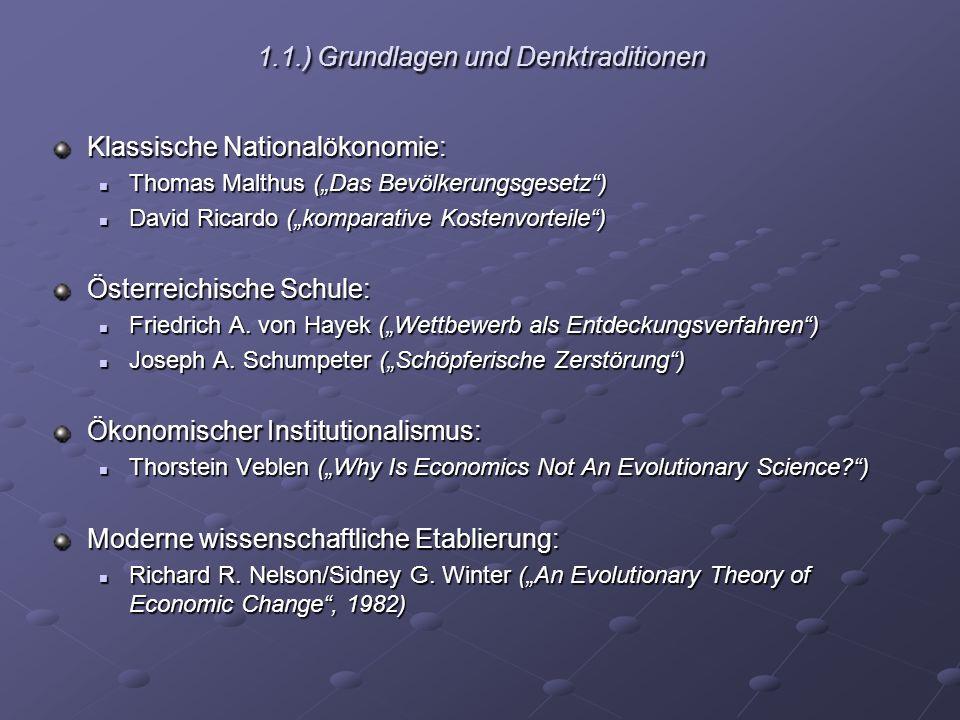 1.2.) Einordnung der EÖ innerhalb der Wirtschaftswissenschaft: Teilgebiet oder Reform.