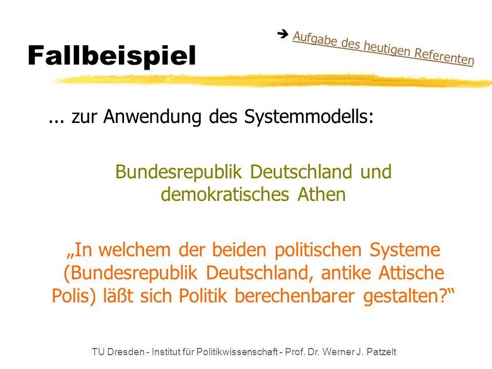 TU Dresden - Institut für Politikwissenschaft - Prof. Dr. Werner J. Patzelt Fallbeispiel... zur Anwendung des Systemmodells: Bundesrepublik Deutschlan