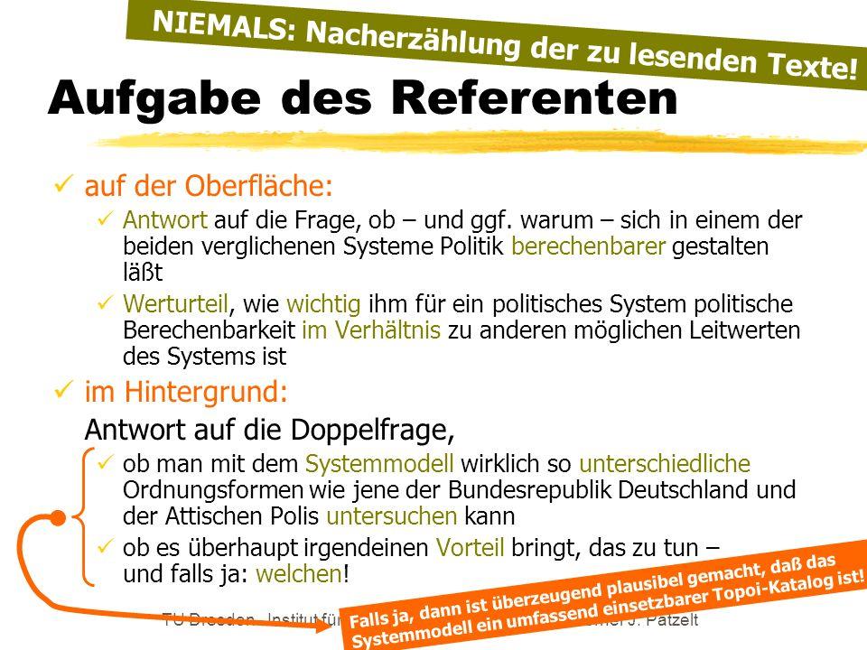 TU Dresden - Institut für Politikwissenschaft - Prof. Dr. Werner J. Patzelt Aufgabe des Referenten auf der Oberfläche: Antwort auf die Frage, ob – und