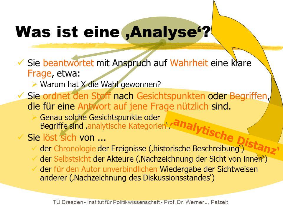 TU Dresden - Institut für Politikwissenschaft - Prof. Dr. Werner J. Patzelt Was ist eine Analyse? analytische Distanz Sie beantwortet mit Anspruch auf