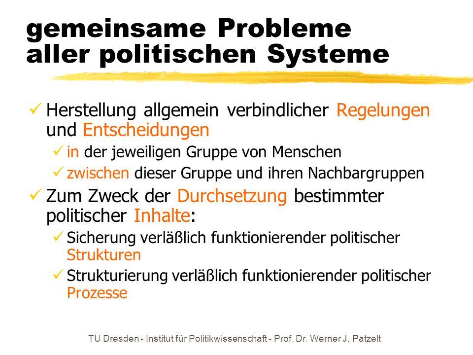 TU Dresden - Institut für Politikwissenschaft - Prof. Dr. Werner J. Patzelt gemeinsame Probleme aller politischen Systeme Herstellung allgemein verbin
