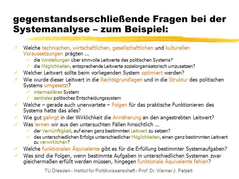 TU Dresden - Institut für Politikwissenschaft - Prof. Dr. Werner J. Patzelt gegenstandserschließende Fragen bei der Systemanalyse – zum Beispiel: Welc