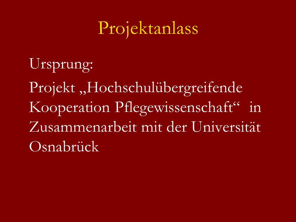 Projektanlass Ursprung: Projekt Hochschulübergreifende Kooperation Pflegewissenschaft in Zusammenarbeit mit der Universität Osnabrück