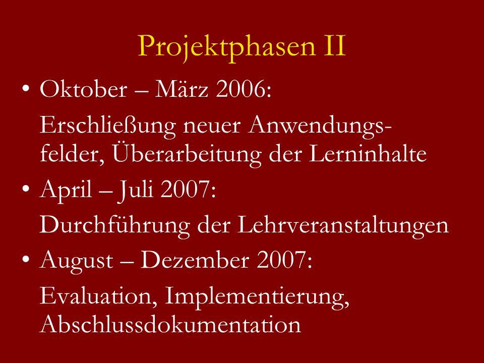 Projektphasen II Oktober – März 2006: Erschließung neuer Anwendungs- felder, Überarbeitung der Lerninhalte April – Juli 2007: Durchführung der Lehrveranstaltungen August – Dezember 2007: Evaluation, Implementierung, Abschlussdokumentation
