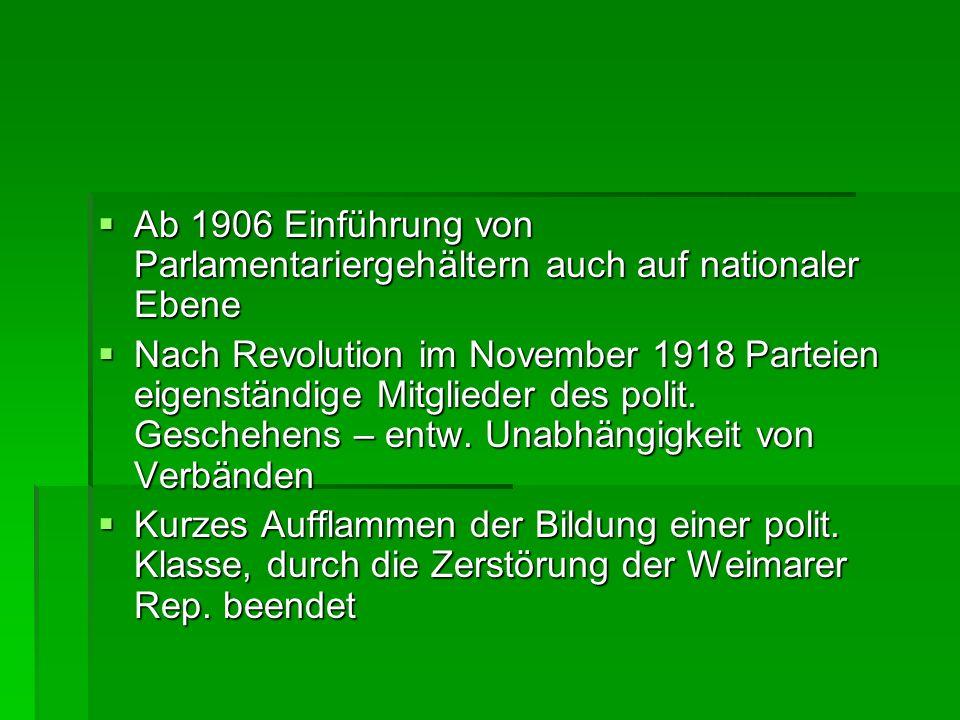 Ab 1906 Einführung von Parlamentariergehältern auch auf nationaler Ebene Ab 1906 Einführung von Parlamentariergehältern auch auf nationaler Ebene Nach