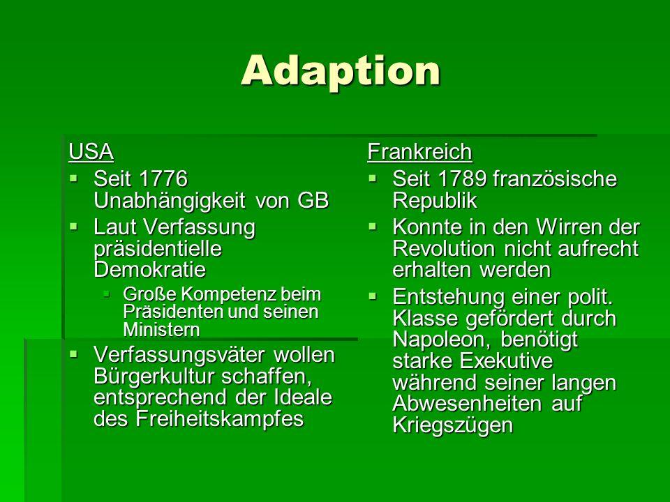 Adaption USA Seit 1776 Unabhängigkeit von GB Seit 1776 Unabhängigkeit von GB Laut Verfassung präsidentielle Demokratie Laut Verfassung präsidentielle