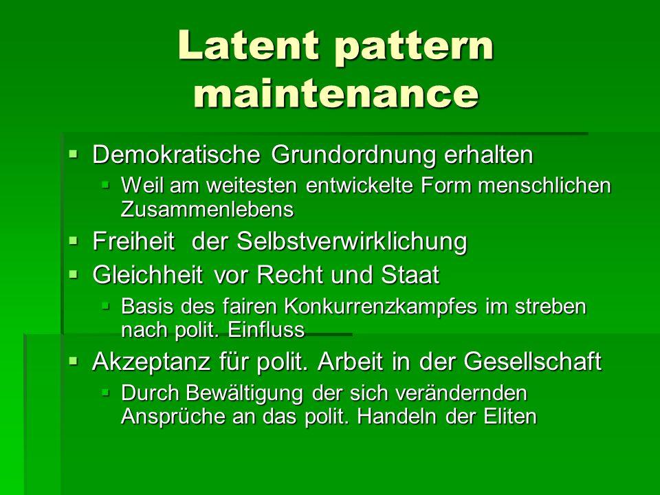 Latent pattern maintenance Demokratische Grundordnung erhalten Demokratische Grundordnung erhalten Weil am weitesten entwickelte Form menschlichen Zus