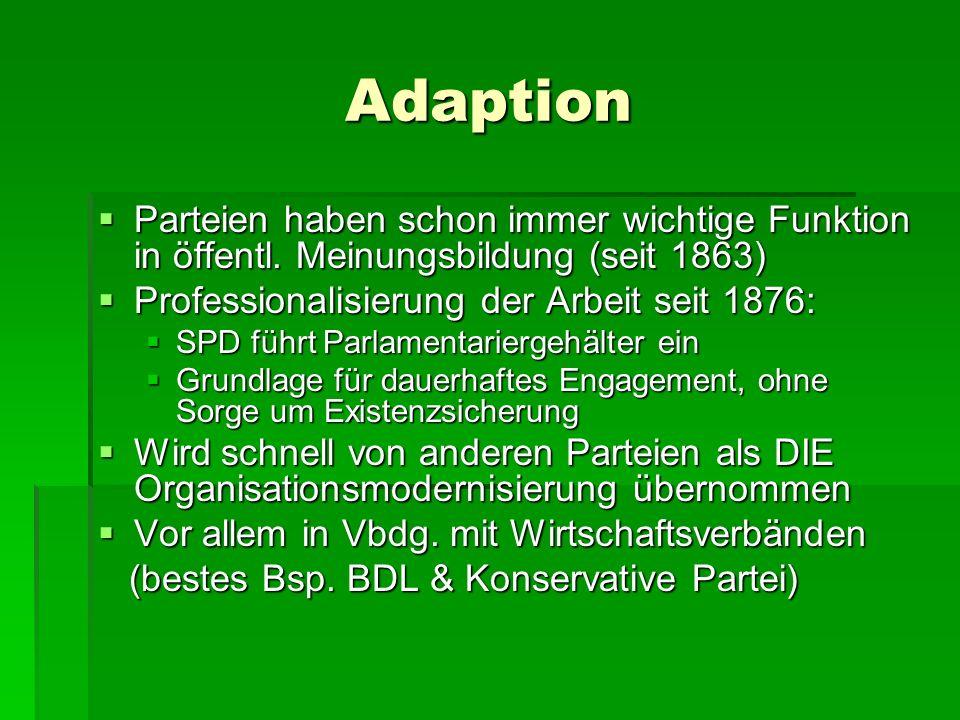 Adaption Parteien haben schon immer wichtige Funktion in öffentl. Meinungsbildung (seit 1863) Parteien haben schon immer wichtige Funktion in öffentl.