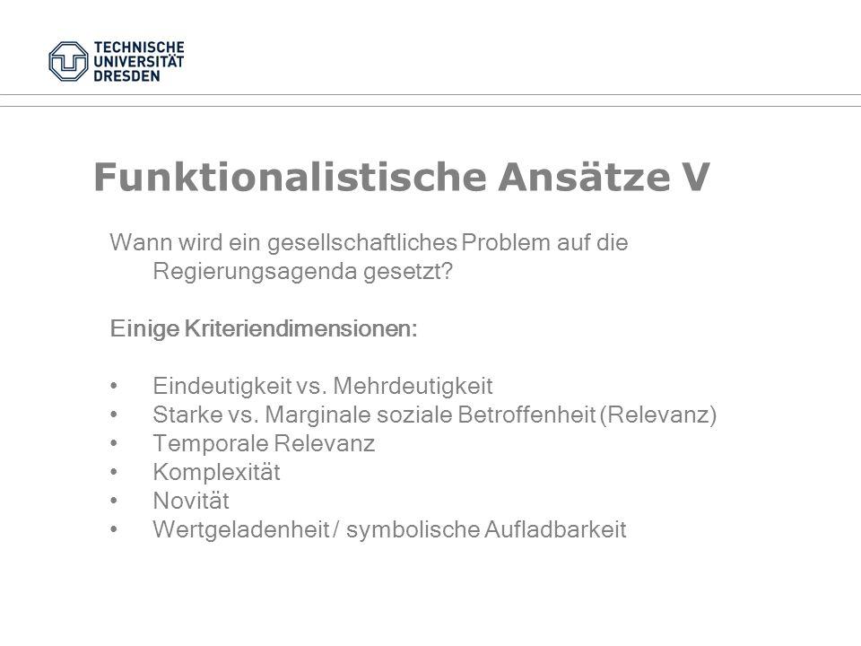 Funktionalistische Ansätze IV Der Politik-Zyklus (nach Werner Jann) Problem- wahrnehmung Handlungs- optionen Programm- bildung Output, Outcome, Impact