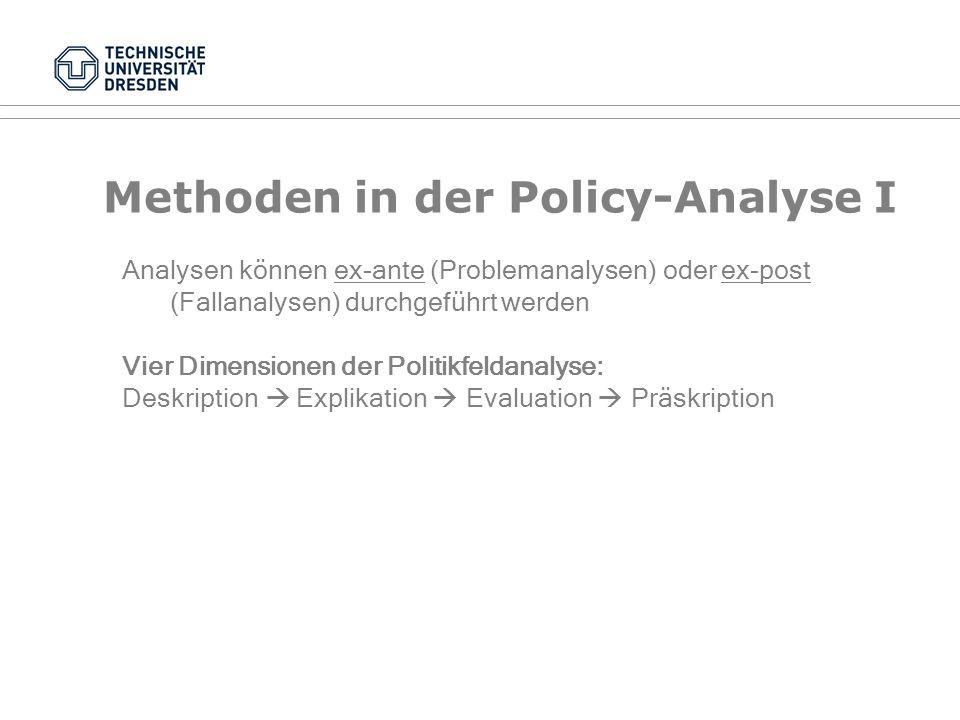 Methoden in der Policy-Analyse I Allgemein: Qualitative und Quantitative Methoden der empirischen Sozialforschung: Spannbreite: Zwischen qualitativen
