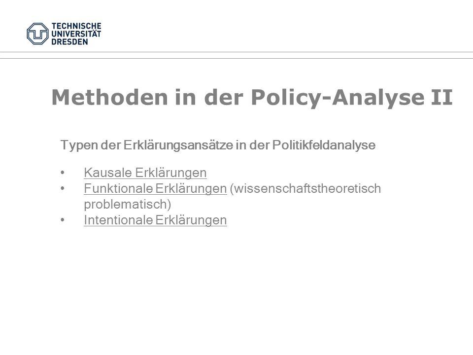 Methoden in der Policy-Analyse I Analysen können ex-ante (Problemanalysen) oder ex-post (Fallanalysen) durchgeführt werden Vier Dimensionen der Politikfeldanalyse: Deskription Explikation Evaluation Präskription