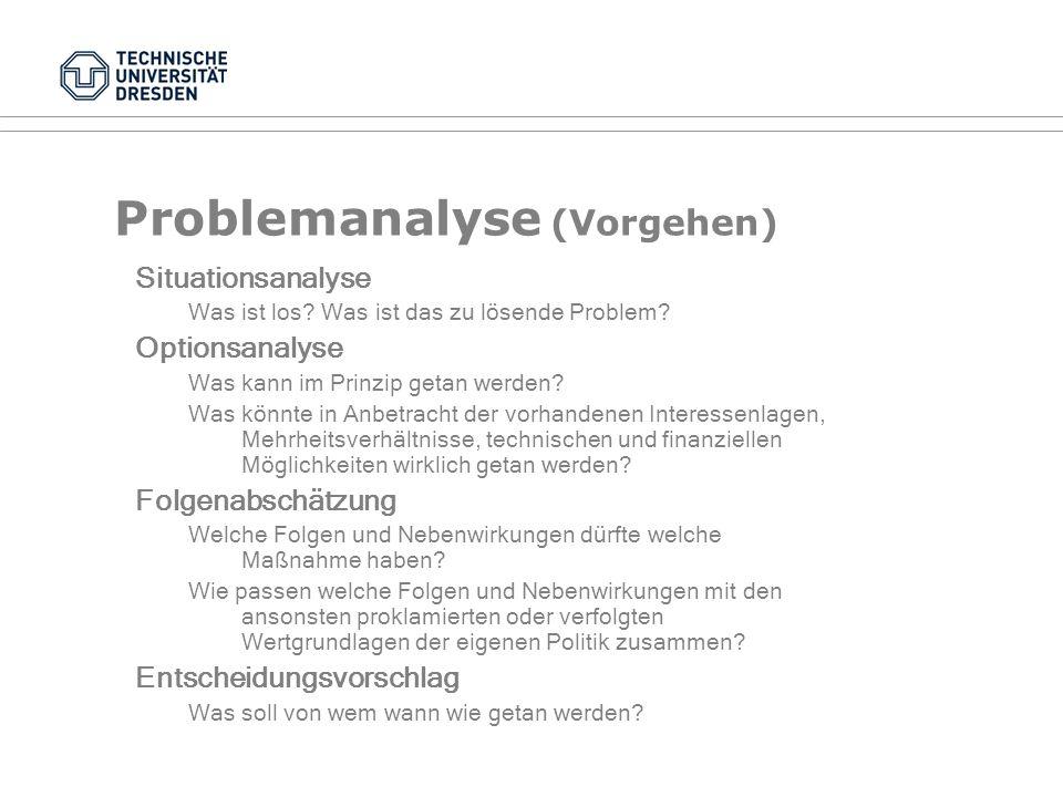 Methoden in der Policy-Analyse VI Auszahlungsmatrizen am Beispiel des Gefangenendilemmas: B Nicht gestehen Gestehen A Nicht gestehen A (3) B (3) A (1)