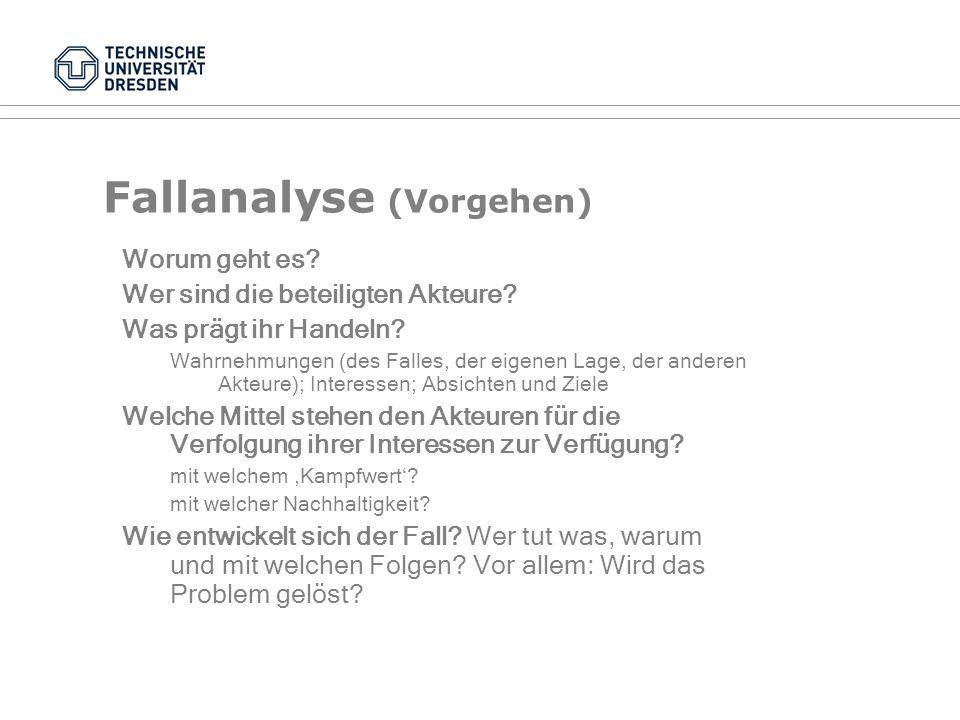 Problemanalyse (Vorgehen) Situationsanalyse Was ist los.