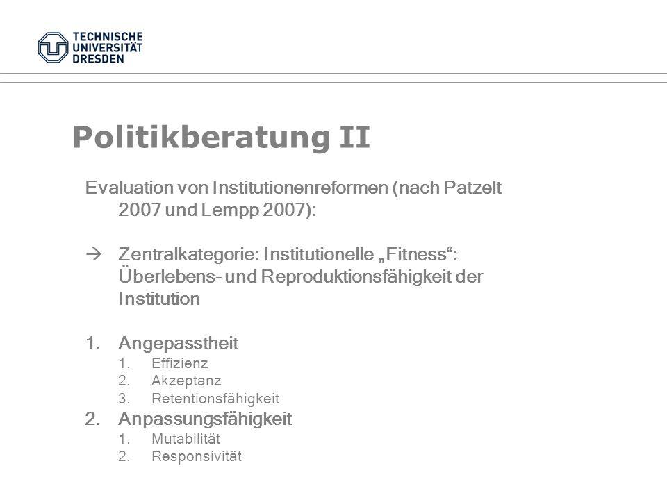 Politikberatung I Analytische Schritte der beratenden Policy-Analyse (nach Windhoff-Héretier, 1987, 116): 1.Problemdefinition 2.Zielauswahl 3.Darstell