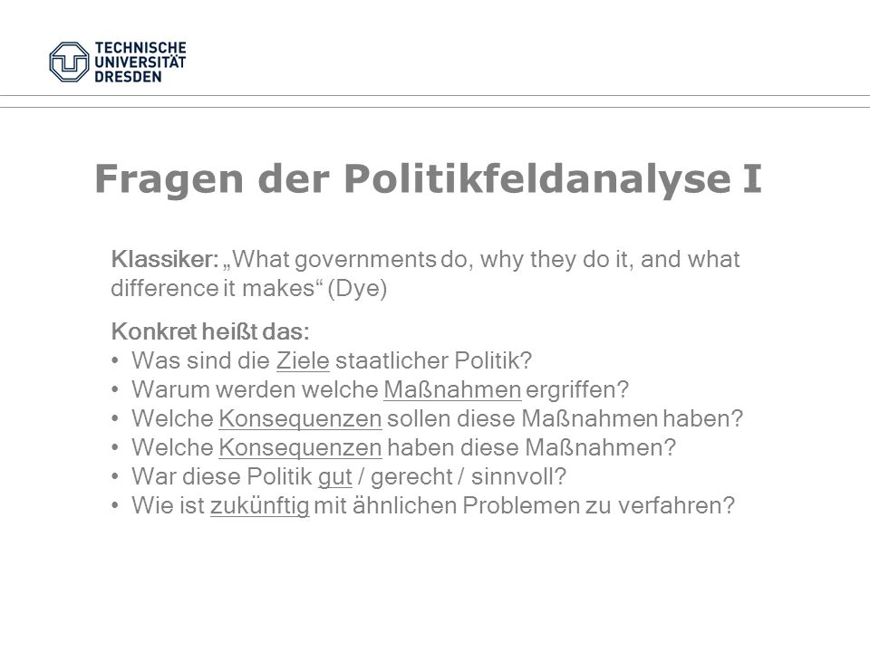 Definition Politikfeldanalyse Begriffe: Policy-Analyse, Policy Studies, Comparative Public Policy, Implementationsforschung, Evaluationsforschung... Z