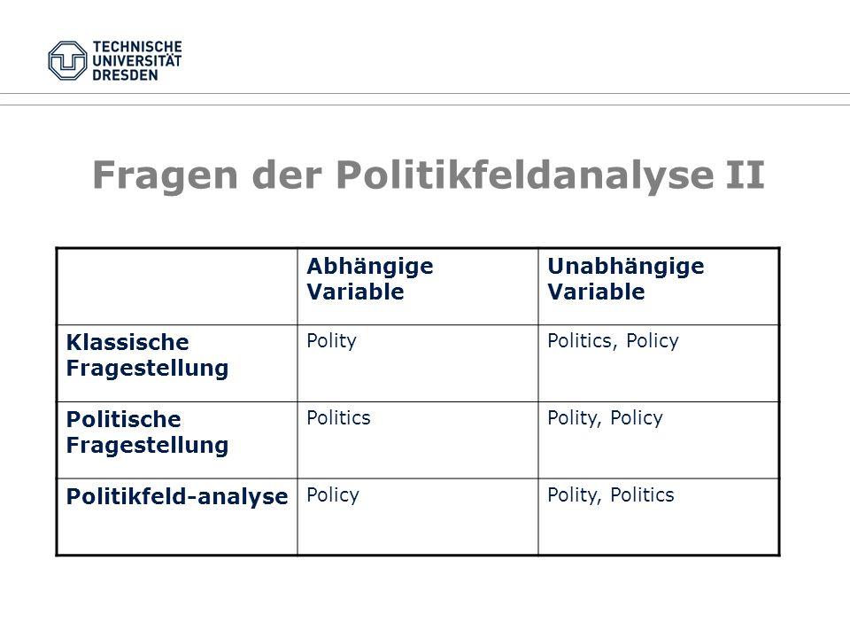 Fragen der Politikfeldanalyse I Klassiker: What governments do, why they do it, and what difference it makes (Dye) Konkret heißt das: Was sind die Ziele staatlicher Politik.