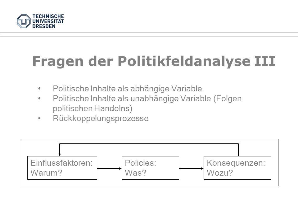 Fragen der Politikfeldanalyse II Abhängige Variable Unabhängige Variable Klassische Fragestellung PolityPolitics, Policy Politische Fragestellung PoliticsPolity, Policy Politikfeld-analyse PolicyPolity, Politics