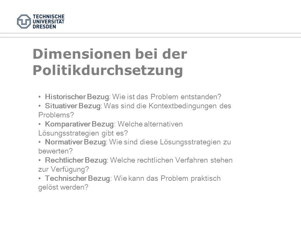 Fragen der Politikfeldanalyse III Politische Inhalte als abhängige Variable Politische Inhalte als unabhängige Variable (Folgen politischen Handelns) Rückkoppelungsprozesse Einflussfaktoren: Warum.