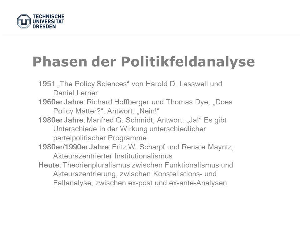Dimensionen bei der Politikdurchsetzung Historischer Bezug: Wie ist das Problem entstanden? Situativer Bezug: Was sind die Kontextbedingungen des Prob