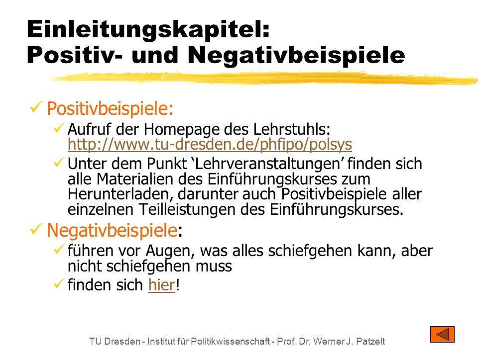 TU Dresden - Institut für Politikwissenschaft - Prof. Dr. Werner J. Patzelt Einleitungskapitel: Positiv- und Negativbeispiele Positivbeispiele: Aufruf