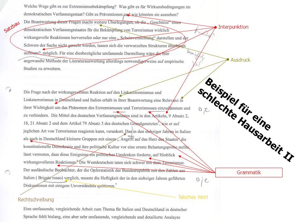 TU Dresden - Institut für Politikwissenschaft - Prof. Dr. Werner J. Patzelt Beispiel für eine schlechte Hausarbeit II Interpunktion Rechtschreibung Sa