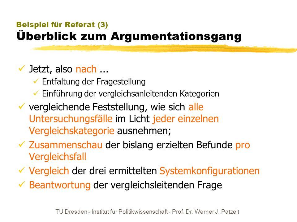 TU Dresden - Institut für Politikwissenschaft - Prof. Dr. Werner J. Patzelt Beispiel für Referat (3) Überblick zum Argumentationsgang Jetzt, also nach