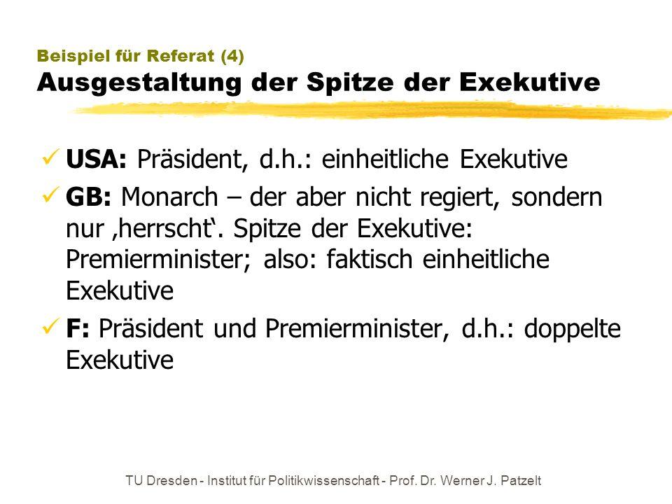 TU Dresden - Institut für Politikwissenschaft - Prof. Dr. Werner J. Patzelt Beispiel für Referat (4) Ausgestaltung der Spitze der Exekutive USA: Präsi