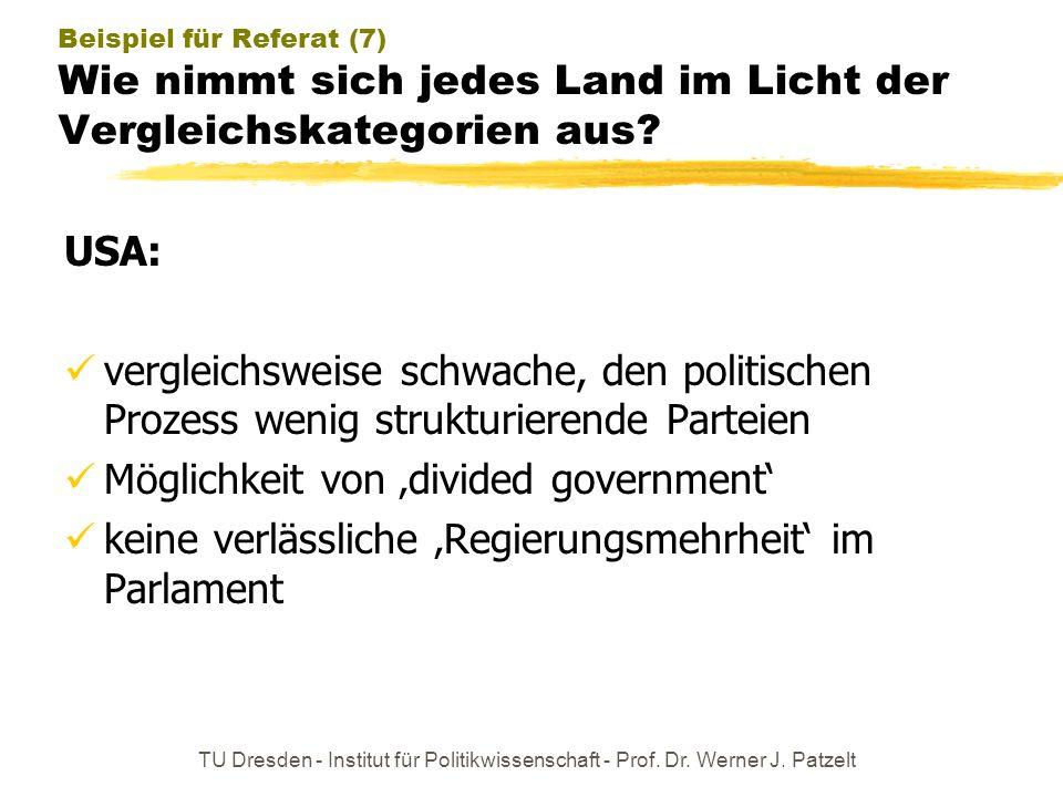 TU Dresden - Institut für Politikwissenschaft - Prof. Dr. Werner J. Patzelt Beispiel für Referat (7) Wie nimmt sich jedes Land im Licht der Vergleichs