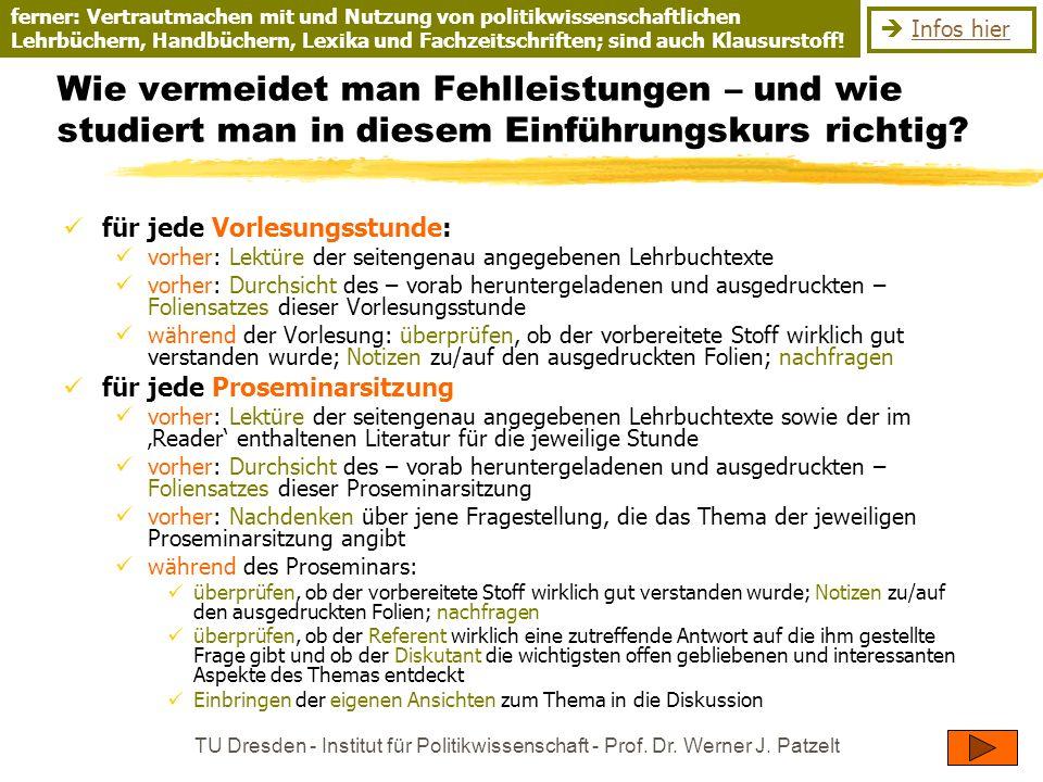 TU Dresden - Institut für Politikwissenschaft - Prof. Dr. Werner J. Patzelt Wie vermeidet man Fehlleistungen – und wie studiert man in diesem Einführu