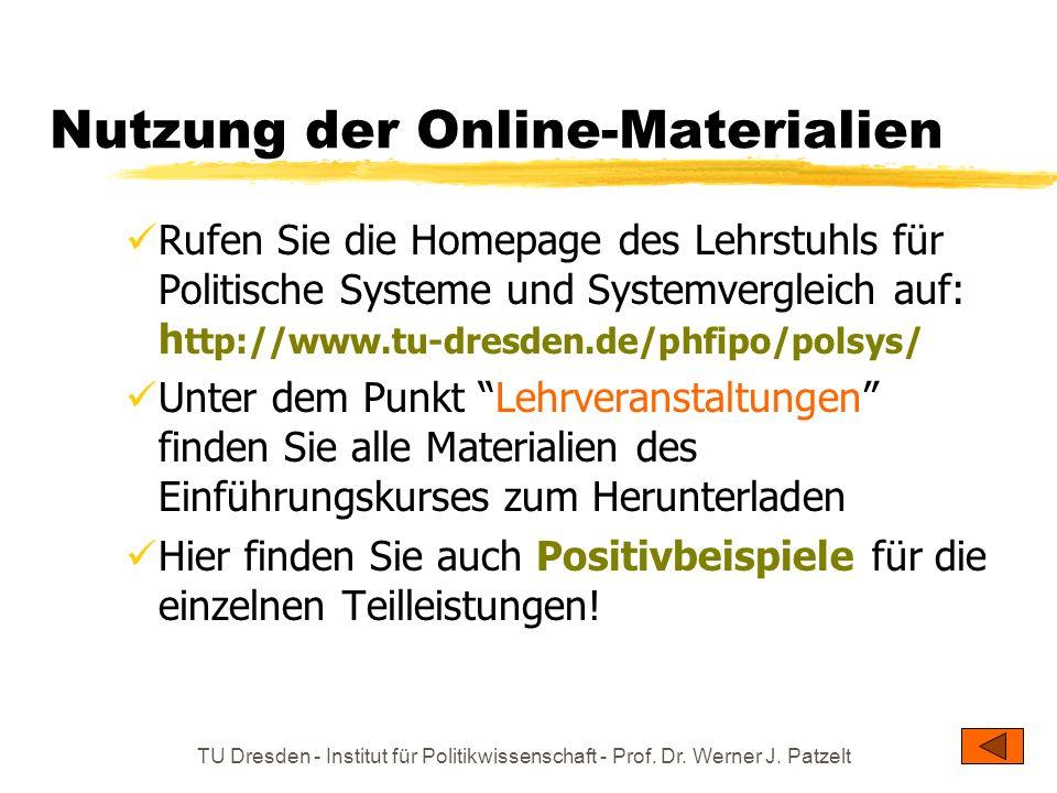 TU Dresden - Institut für Politikwissenschaft - Prof. Dr. Werner J. Patzelt Nutzung der Online-Materialien Rufen Sie die Homepage des Lehrstuhls für P