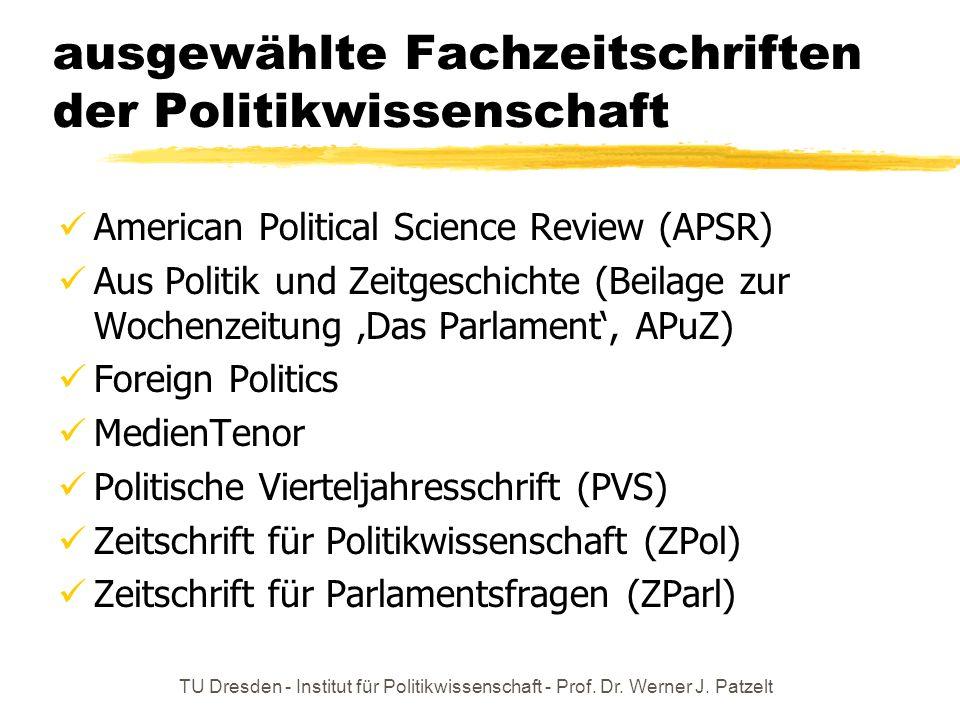 TU Dresden - Institut für Politikwissenschaft - Prof. Dr. Werner J. Patzelt ausgewählte Fachzeitschriften der Politikwissenschaft American Political S