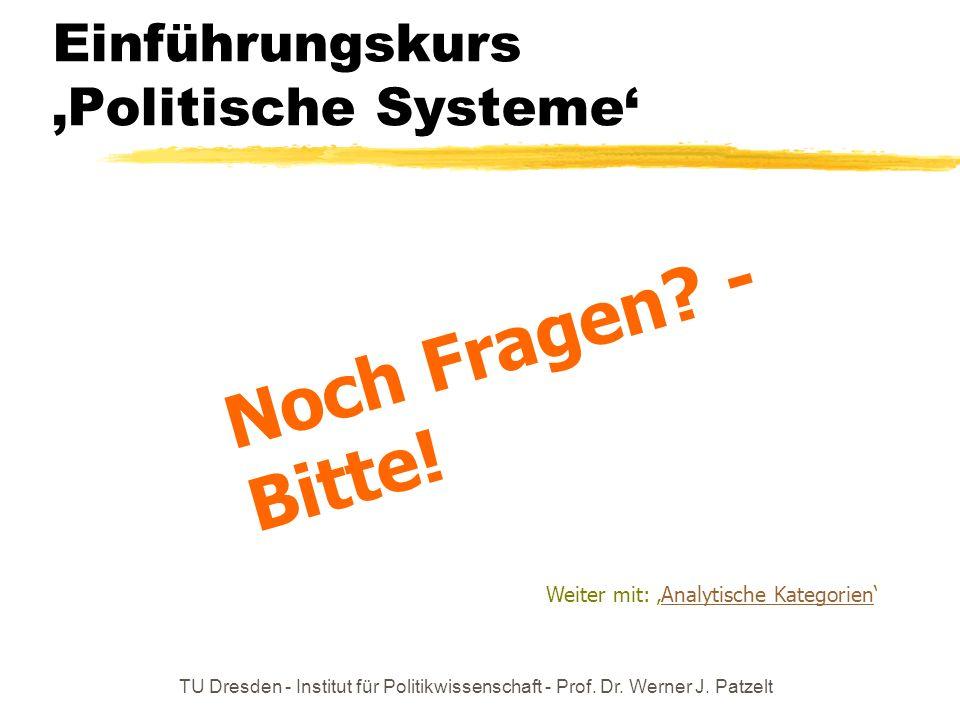 TU Dresden - Institut für Politikwissenschaft - Prof. Dr. Werner J. Patzelt Einführungskurs Politische Systeme Noch Fragen? - Bitte! Weiter mit: Analy