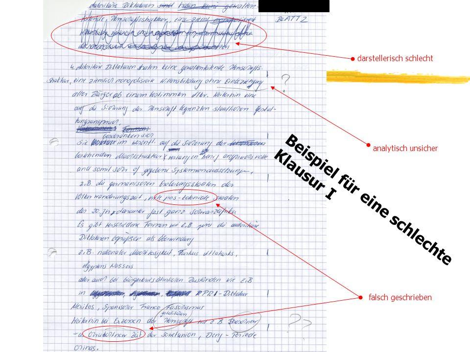 TU Dresden - Institut für Politikwissenschaft - Prof. Dr. Werner J. Patzelt Beispiel für eine schlechte Klausur I darstellerisch schlecht analytisch u
