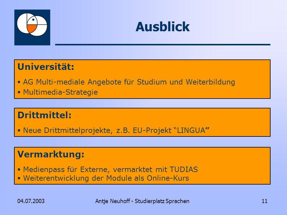 Antje Neuhoff - Studierplatz Sprachen1104.07.2003 Ausblick Universität: AG Multi-mediale Angebote für Studium und Weiterbildung Multimedia-Strategie D