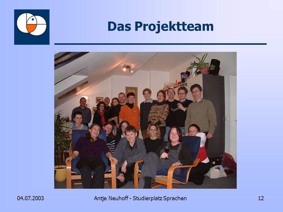 Antje Neuhoff - Studierplatz Sprachen1204.07.2003 Das Projektteam