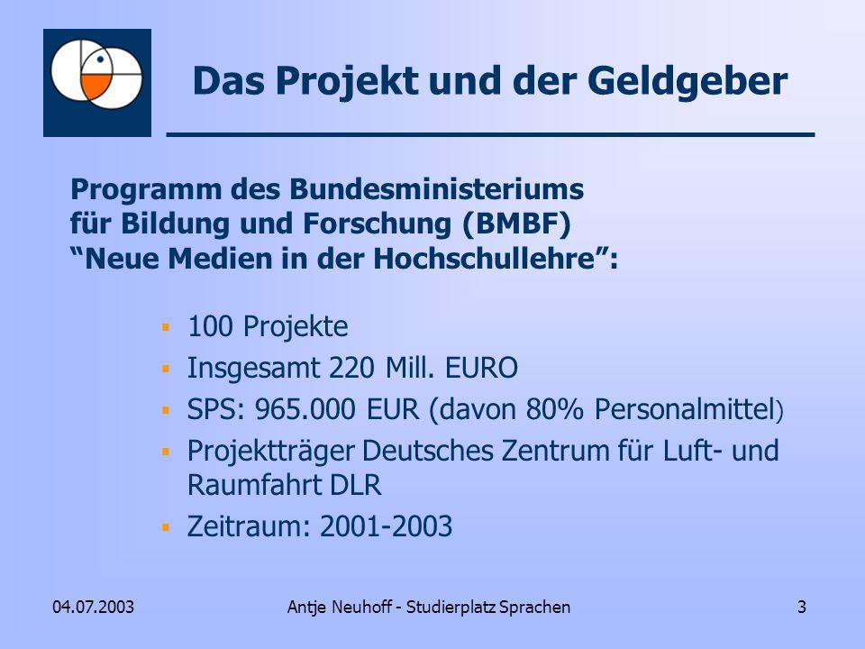 Antje Neuhoff - Studierplatz Sprachen304.07.2003 Das Projekt und der Geldgeber Programm des Bundesministeriums für Bildung und Forschung (BMBF) Neue M