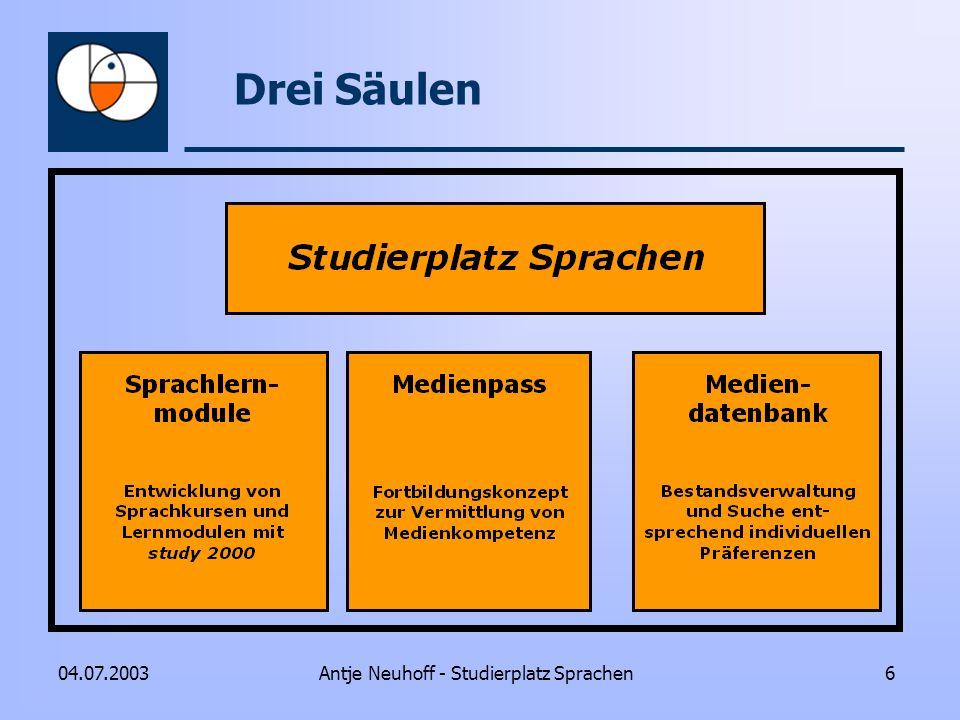 Antje Neuhoff - Studierplatz Sprachen604.07.2003 Drei Säulen