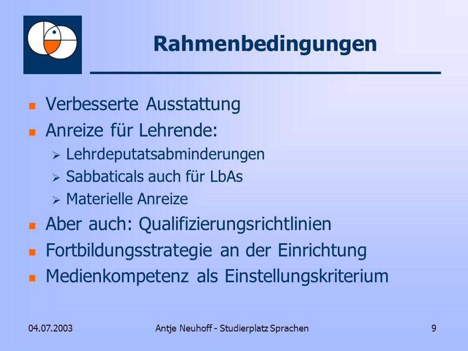 Antje Neuhoff - Studierplatz Sprachen904.07.2003 Rahmenbedingungen Verbesserte Ausstattung Anreize für Lehrende: Lehrdeputatsabminderungen Sabbaticals
