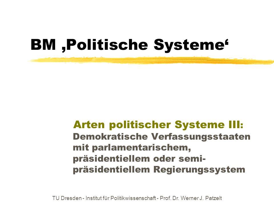 TU Dresden - Institut für Politikwissenschaft - Prof. Dr. Werner J. Patzelt BM Politische Systeme Arten politischer Systeme III : Demokratische Verfas