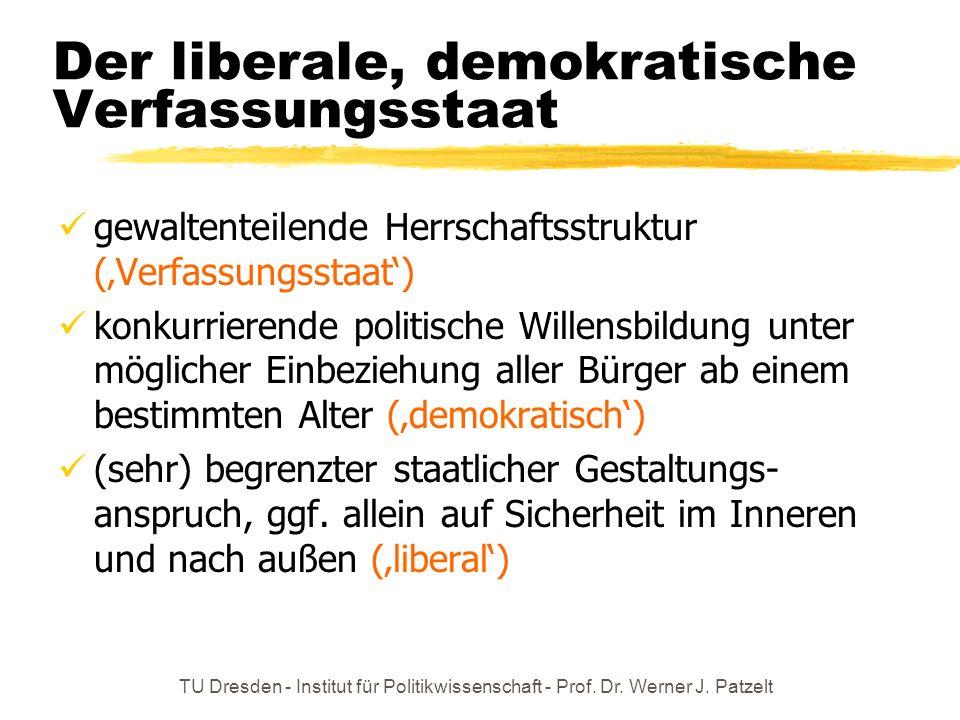 TU Dresden - Institut für Politikwissenschaft - Prof. Dr. Werner J. Patzelt Der liberale, demokratische Verfassungsstaat gewaltenteilende Herrschaftss