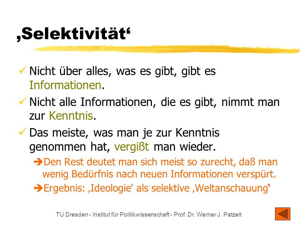TU Dresden - Institut für Politikwissenschaft - Prof. Dr. Werner J. Patzelt Selektivität Nicht über alles, was es gibt, gibt es Informationen. Nicht a