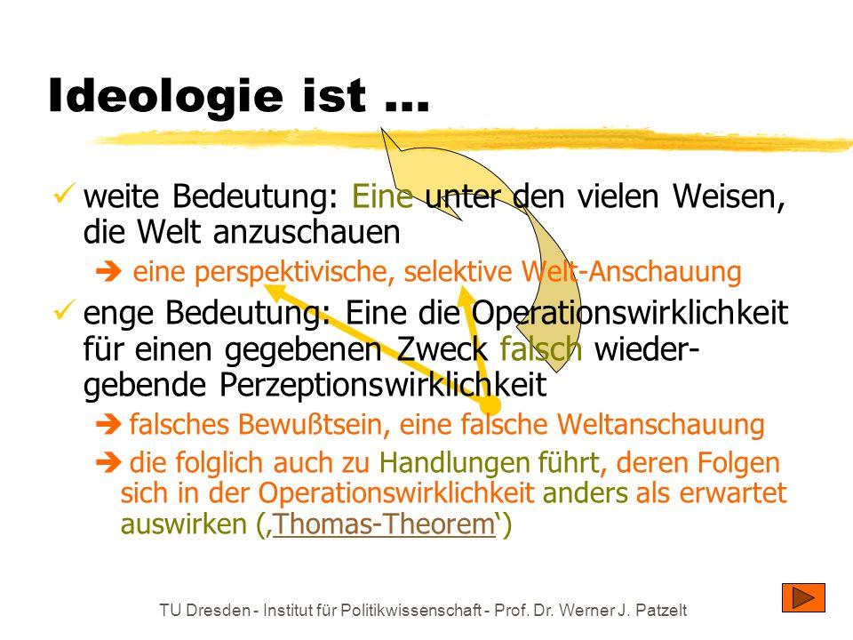 TU Dresden - Institut für Politikwissenschaft - Prof. Dr. Werner J. Patzelt Ideologie ist... weite Bedeutung: Eine unter den vielen Weisen, die Welt a