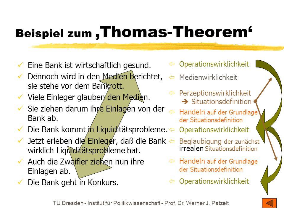 TU Dresden - Institut für Politikwissenschaft - Prof. Dr. Werner J. Patzelt Beispiel zum Thomas-Theorem Eine Bank ist wirtschaftlich gesund. Dennoch w