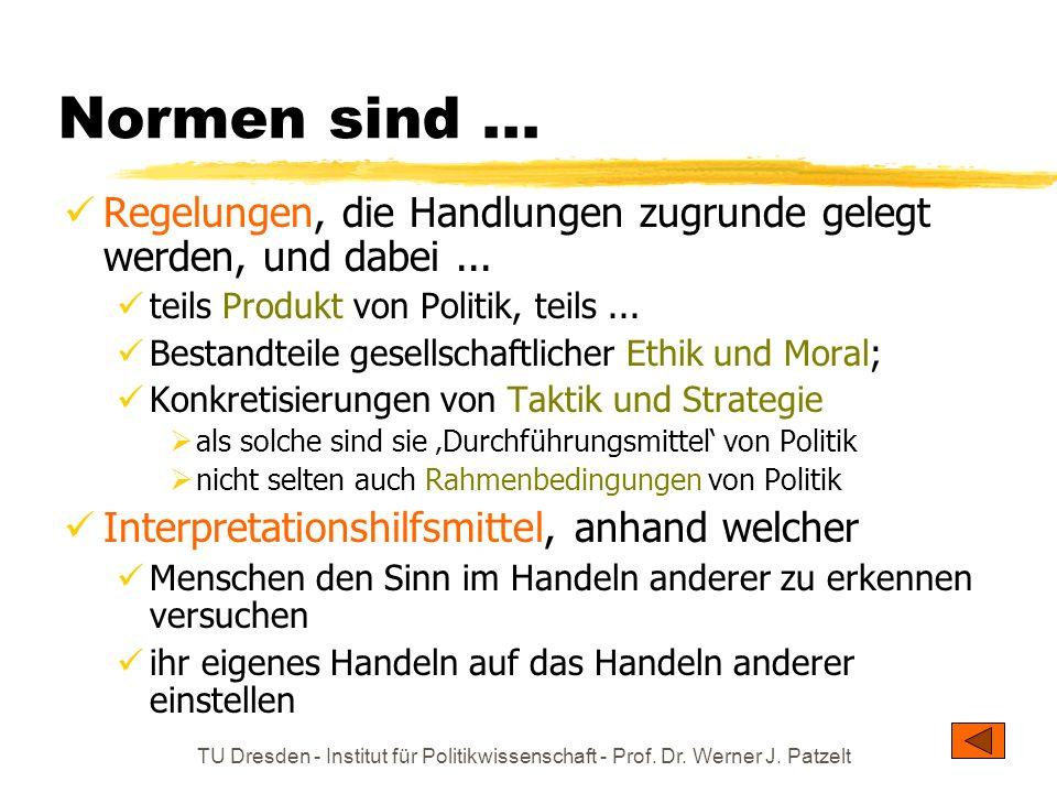 TU Dresden - Institut für Politikwissenschaft - Prof. Dr. Werner J. Patzelt Normen sind... Regelungen, die Handlungen zugrunde gelegt werden, und dabe