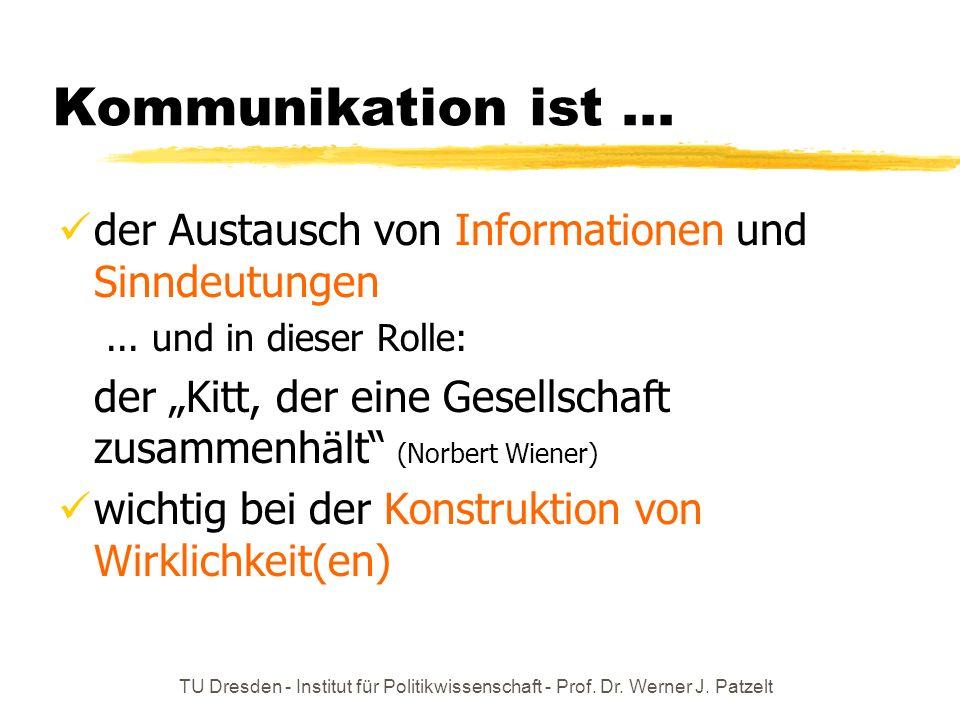 TU Dresden - Institut für Politikwissenschaft - Prof. Dr. Werner J. Patzelt Kommunikation ist... der Austausch von Informationen und Sinndeutungen...