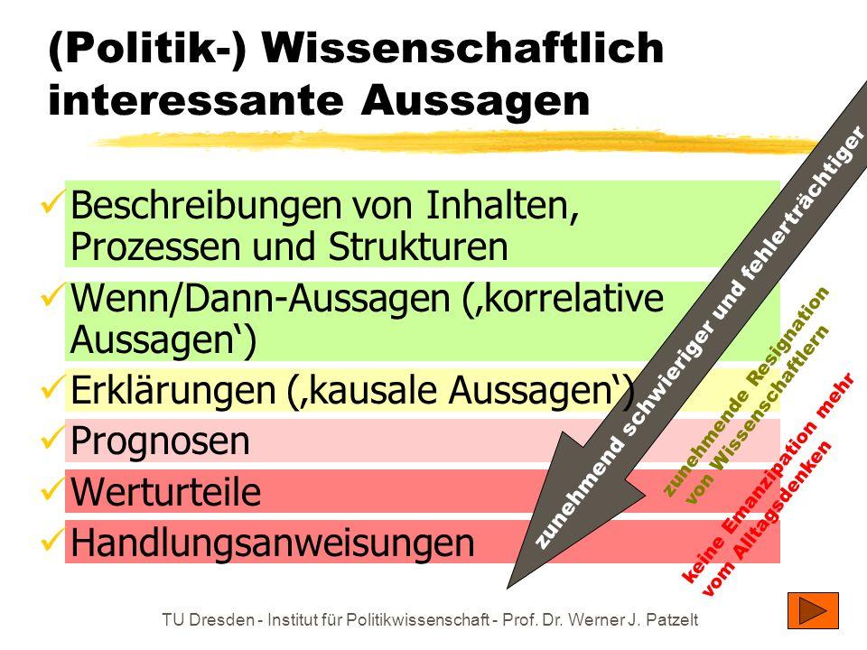 TU Dresden - Institut für Politikwissenschaft - Prof. Dr. Werner J. Patzelt (Politik-) Wissenschaftlich interessante Aussagen zunehmend schwieriger un