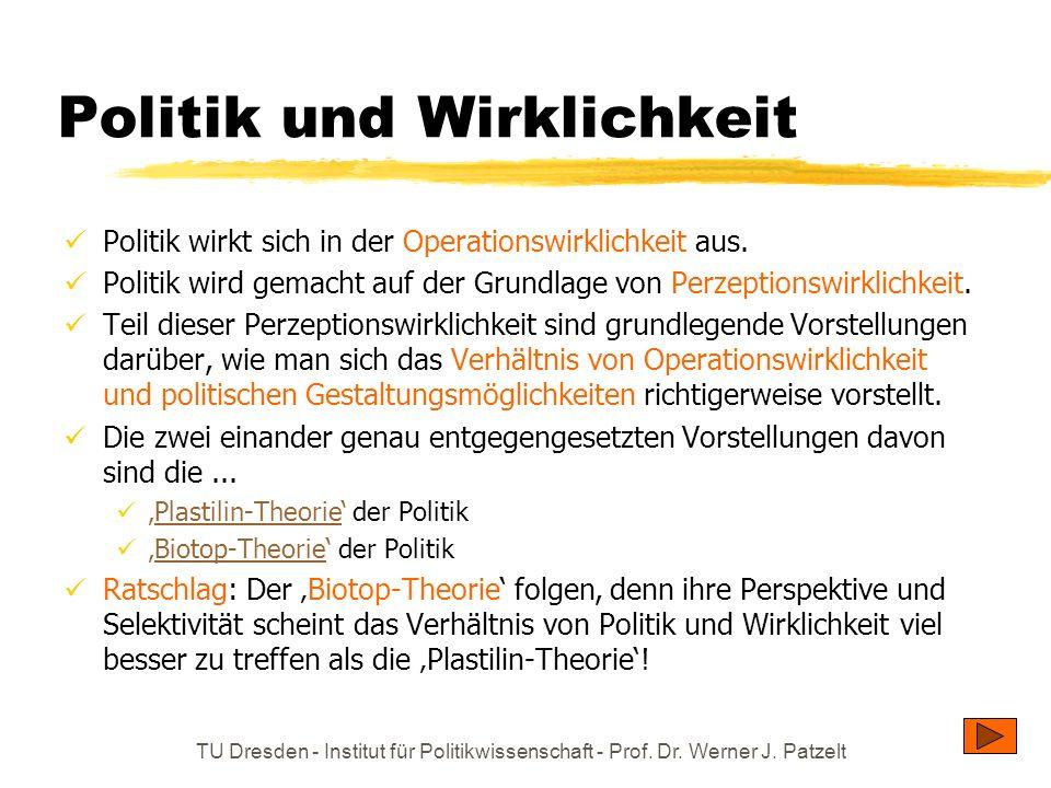 TU Dresden - Institut für Politikwissenschaft - Prof. Dr. Werner J. Patzelt Politik und Wirklichkeit Politik wirkt sich in der Operationswirklichkeit