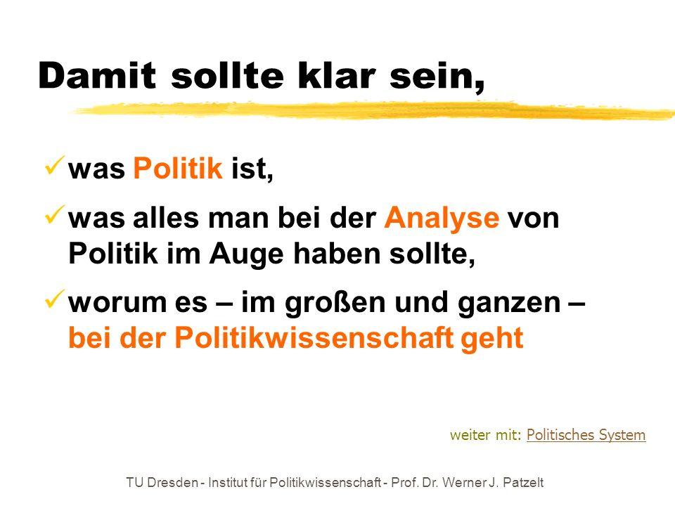 TU Dresden - Institut für Politikwissenschaft - Prof. Dr. Werner J. Patzelt Damit sollte klar sein, was Politik ist, was alles man bei der Analyse von