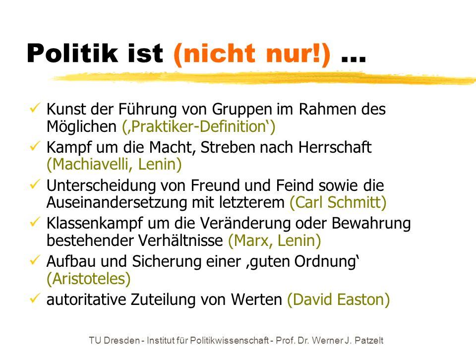 TU Dresden - Institut für Politikwissenschaft - Prof. Dr. Werner J. Patzelt Politik ist (nicht nur!)... Kunst der Führung von Gruppen im Rahmen des Mö
